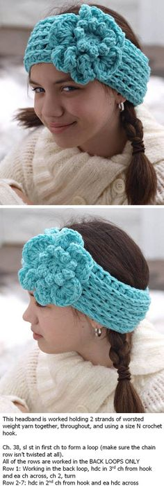 Crocheted Ear Warmer Pattern- I made this pattern in a very short ...