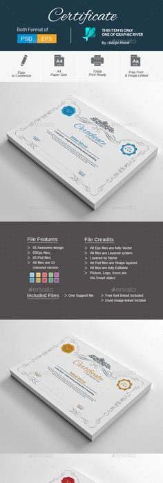 Certificate certificate certificate design and template features din size print dimension with bleed well layered organized certificate by benjinpoint certificate psd template download yadclub Images