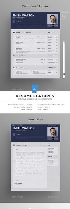 Resume Template PSD #design Download   graphicrivernet/item