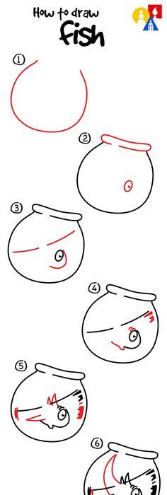 Easy Step Step Cat Hat Fish Draw