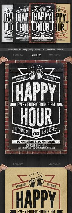 Chalk Happy Hour Flyer Invite Happy Hour Template And Flyer Template
