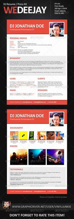 Prodj  Dj Press Kit  Rider  Resume Psd Template  Press Kits