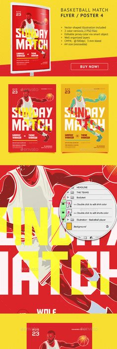 Basketball Match Flyer Bundle   Off Sporty Illustrated Flyers