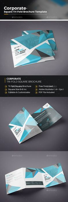 Corporate TriFold Square Brochure  Tri Fold Brochures And Ai