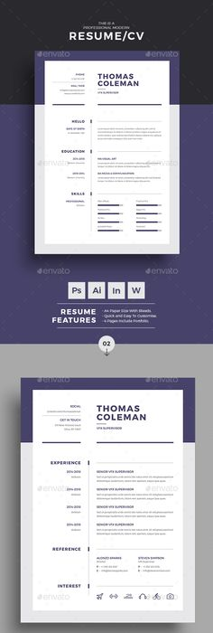Modern Resume Template  Cv Template For Word Cover Letter Four