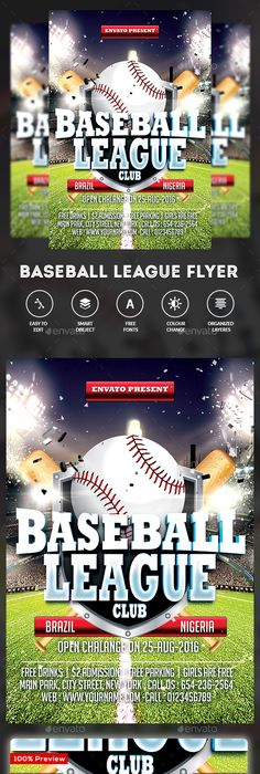 Baseball Flyer | Flyer template, Template and Fonts