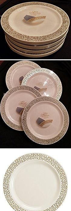 Bulk wedding party dinner disposable plastic plates silverware white lace | wedding disposable plates | Pinterest | Plastic plates White lace and Wedding & Bulk wedding party dinner disposable plastic plates silverware white ...