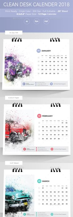 Wall Calendar 2018 | Calendar 2018, Ai illustrator and Template
