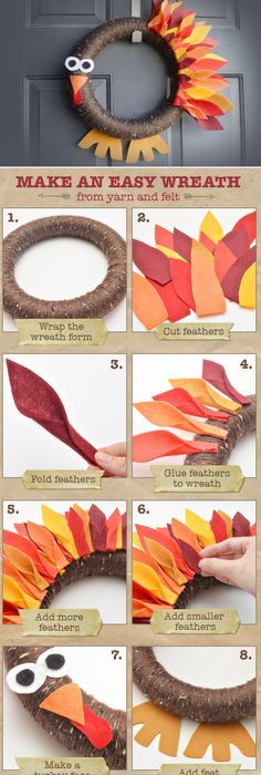 easy thanksgiving turkey wreath an easy wreath made from yarn and felt