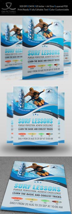 Flyer Samples Templates Surfing Flyer Template Ai Psd A4  Design  Pinterest  Flyer .