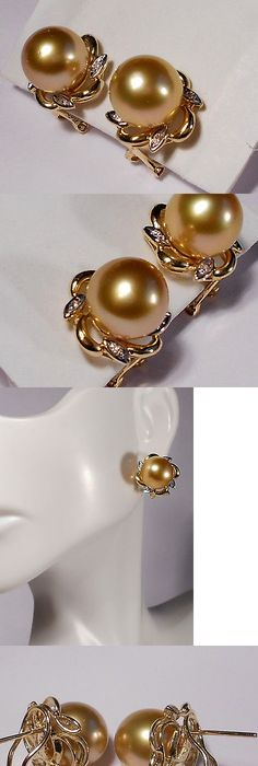 Pearl 10990 Rich Golden South Sea Earrings Diamonds Solid 14k Yellow Gold