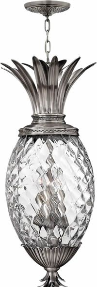 Plantation pineapple pendant with clear optic glass pendant hinkley lighting 2222 plantation outdoor hanging lantern solid brass or cast aluminum with choice of finish and clear optic glass on a pineapple shaped aloadofball Gallery