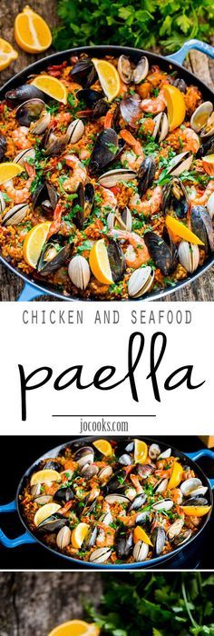 Spanish seafood paella recipe spanish seafood paella seafood chicken and seafood paella a classic spanish rice dish made with arborio rice packed forumfinder Images