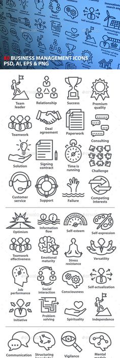 icons set of business management