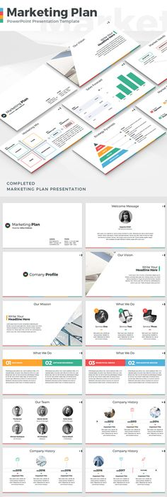 Digital Marketing PowerPoint Template In Flat Design Style Including - Marketing plan presentation ppt