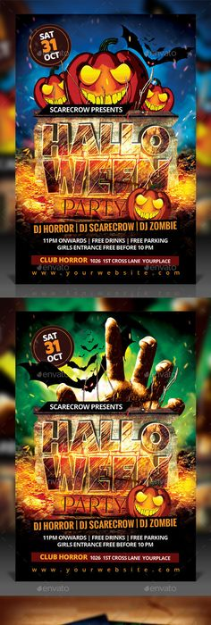 Chills And Thrills Halloween Party Flyer  Halloween Party Flyer