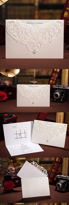 Ponatia 25pcslot luxury laser cut invitations cards kits flora ponatia 25pcslot luxury laser cut invitations cards kits flora invitation cardstock packs with envelope and adhesive seals for engagement wedding party stopboris Images