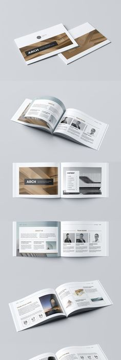 Cool Modern Brochure  Pages A Horizontal Template Indesign Indd