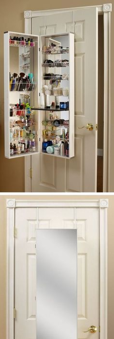 Over The Door Makeup + Beauty Storage Cabinet // Clever Space Saving  Solution