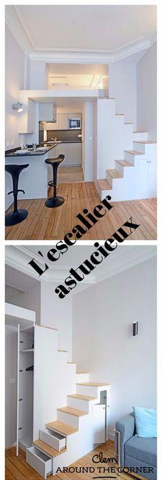 11 escaliers gain de place parfaits pour de petits espaces escalier gain de place gain de. Black Bedroom Furniture Sets. Home Design Ideas