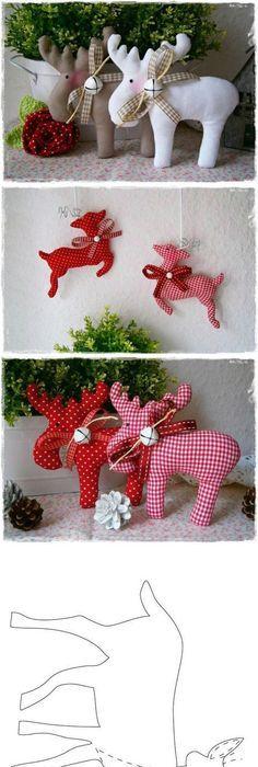 Felt reindeer ornament for 2014 Christmas tree decor - Christmas - moose christmas decorations