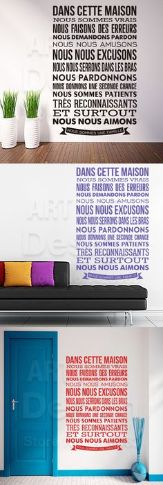 French Stickers La vie est belle Heart Vinyl Wall Decals Removable - stickers dans cette maison