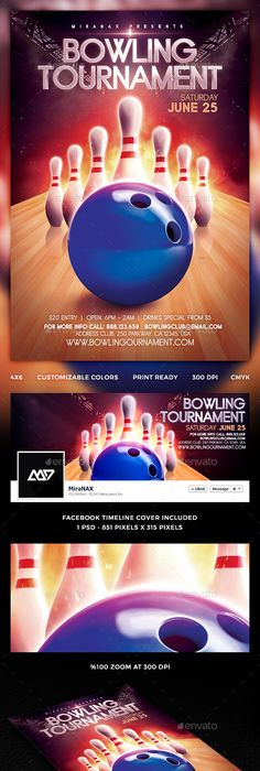 Bowling Night Flyer Template V  Psd Template Dj Bowling Flyer