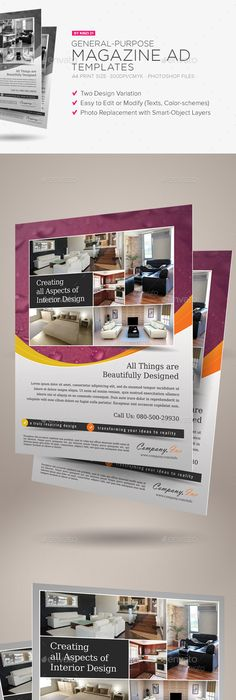4x Clean Magazine Advertisement Templates Print templates