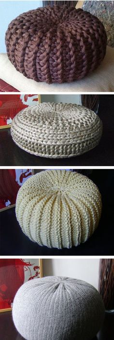 4 Knitted & Crochet Pouf Floor cushion Patterns, Crochet Pattern ...