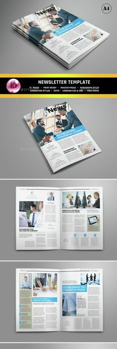 Clean Corporate Newsletter Template  Newsletter Templates Print