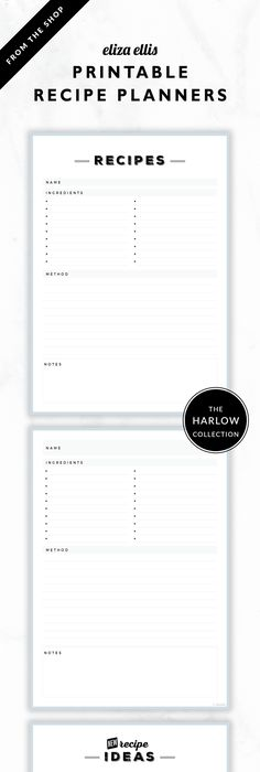 Meal Planning Binder Recipe Pages Recipe binders, Binder and