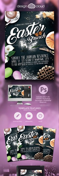 Happy Easter Flyer Template Edit text, Flyer template and Template