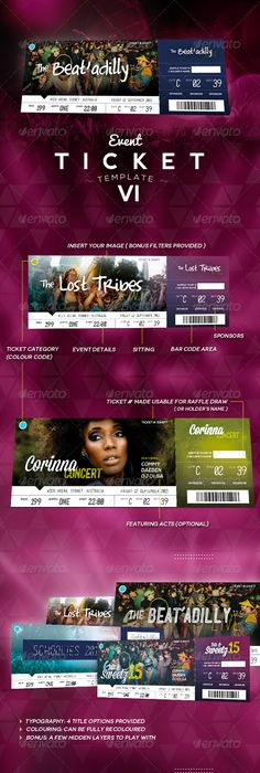 EventTicketTemplateForFree    Pinteres