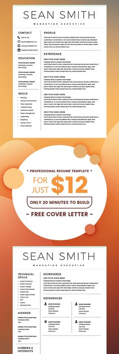 Resume for Marketing, Resume for Sales - Resume for Word Mac/PC +