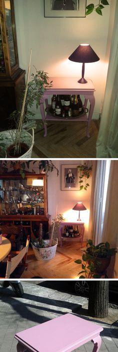 Mesa pintada a la tiza en blanco nieve y avejentada con cera oscura ...