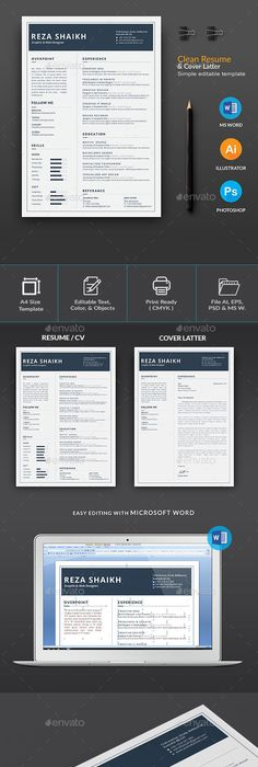 Professional Resume Template Bundle  Cv Package With Cover
