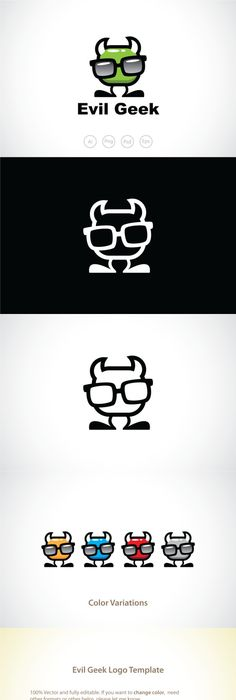 Evil Devil Geek Logo Template