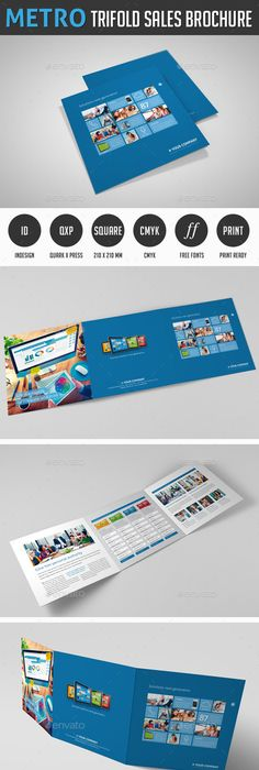Trifold sales brochure template Vector Free Download
