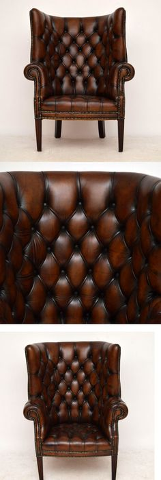 This High, Curved Back Antique Georgian Style Leather Armchair Has Lots Of  Charm U0026 Character