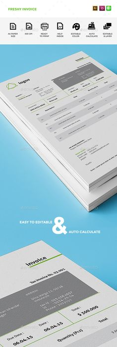 Invoice 1 | Template, Print templates and Brochures