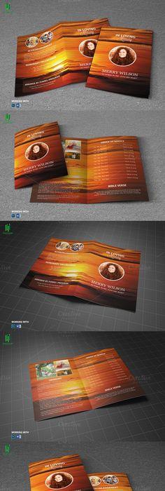 Trifold Funeral Program Template Program template, Brochure
