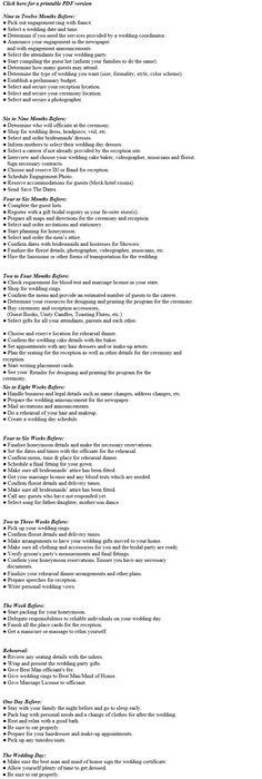 Wedding Timeline And Vendor List A Sample List To Get You