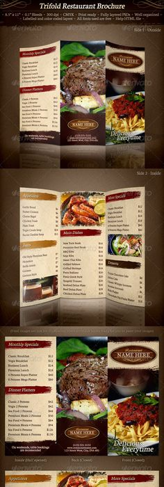 Elegant TriFold Restaurant Menu Template | Restaurant menu template ...