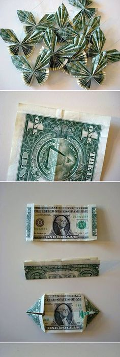 Money origami flower edition 10 different ways to fold a dollar diy dollar bill butterfly origami folding technique for gifts or holidays christmas stockings easter baskets birthday or graduation or wedding gift mightylinksfo Image collections