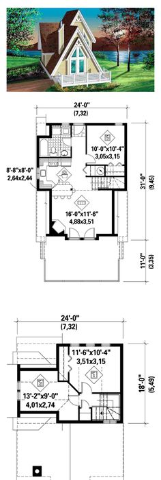 A Frame House Plan 49303 Total Living Area 994 Sq Ft