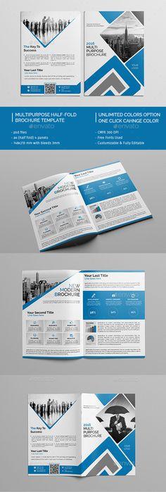 Business Square Bi-Fold Brochure template, Brochures and Corporate - half fold brochure template