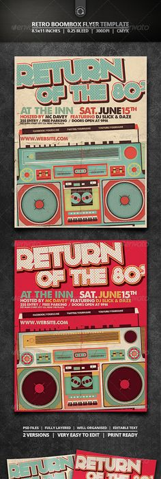 Retro Music Box Party  Party Flyer Music Boxes And Flyer Template