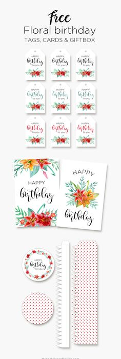 Birthday Cards Free Download Printable Impressive Printable Floral Birthday Cards Tags And Gift Boxfree Download .