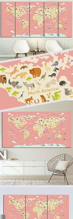 17 Cool Ideas For World Map Wall Art Vintage maps, Wall murals and - new world map canvas picture