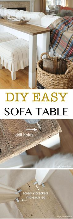 Easy DIY Reclaimed Wood Sofa Table // Fill The Space Behind The Sofa With  This